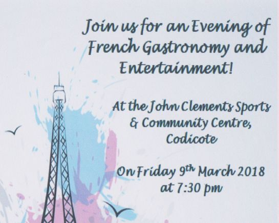 9th March: French Evening, John Clements Centre, Codicote